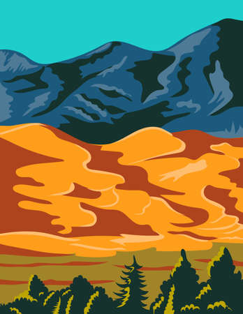 WPA poster art of Great Sand Dunes National Park and Preserve with huge dunes like Star Dune and Medano Creek in Colorado United States in works project administration or federal art project style.