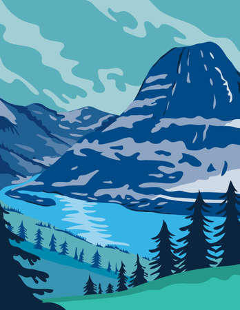 WPA poster art of Glacier National Park with pristine forests, alpine meadows, mountains and lakes located in Montana, United States done in works project administration or federal art project style.