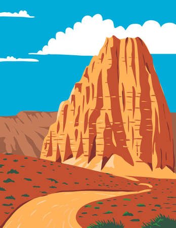 WPA poster art of the Cathedral Valley Loop in Capitol Reef National Park, south-central Utah, United States done in works project administration or federal art project style.