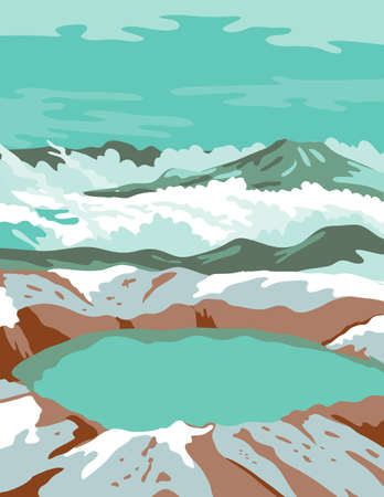 WPA poster art of the Katmai National Park and Preserve with the summit crater lake of Mount Katmai in  southern Alaska United States done in works project administration federal art project style.