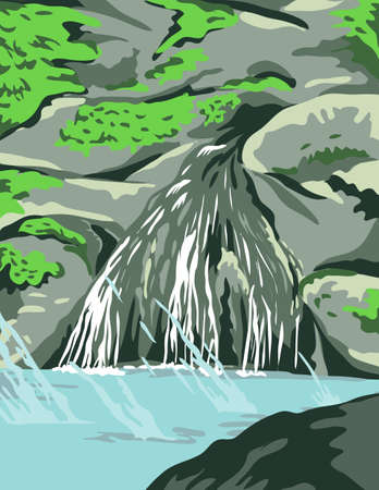 WPA poster art of Hot Springs National Park, with waterfall and thermal waters in Garland County, Arkansas, United States done in works project administration federal art project style.