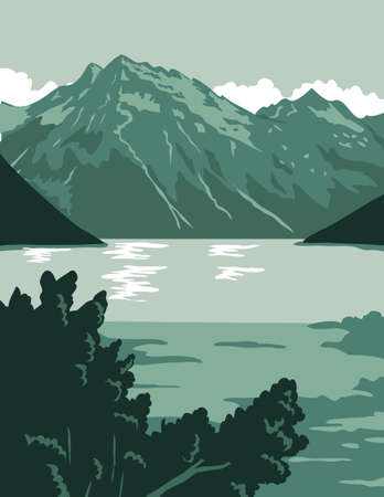 WPA poster art of the Lake Clark National Park and Preserve, an American national park in Anchorage, southwest of Alaska, United States done in works project administration federal art project style