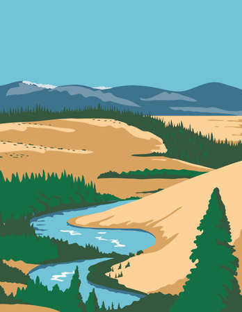 WPA poster art of the Kobuk Valley National Park, an American national park in the Arctic region of northwestern Alaska, United States done in works project administration federal art project style. Çizim