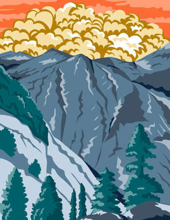 WPA poster art of the Kings Canyon National Park, an American national park in southern Sierra Nevada, Fresno and Tulare Counties, California in works project administration federal art project style.