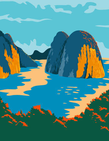 WPA poster art of the Ha Long Bay or Halong Bay in Quang Ninh Province, Vietnam done in works project administration or federal art project style. 向量圖像