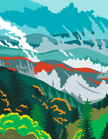 WPA poster art of Great Smoky Mountains National Park, an American national park in Tennessee and North Carolina, United States done in works project administration or federal art project style.
