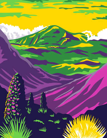 WPA poster art of Haleakala National Park in the island of Maui named after Haleakala, a dormant volcano in Hawaii United States done in works project administration federal art project style.