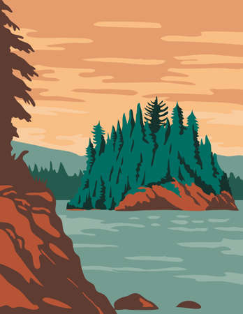 WPA poster art of Isle Royale National Park, consisting of Isle Royale and hundreds of islands in Lake Superior, Michigan United States done in works project administration federal art project style.
