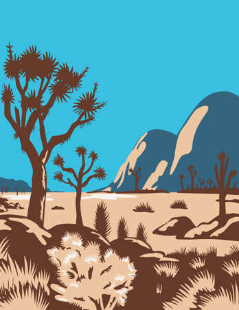 WPA poster art of Joshua Tree National Park in east of Los Angeles and San Bernardino near Palm Springs, California United States done in works project administration federal art project style.