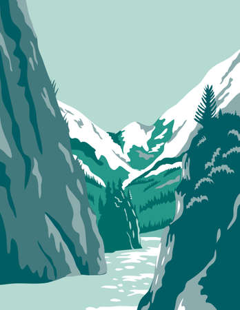 WPA poster art of the Kenai Fjords National Park, a national park with fjord and rainforest located in Alaska United States done in works project administration federal art project style.
