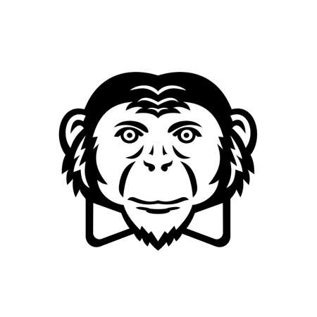 Mascot illustration of head of a noble chimpanzee, chimp, monkey, primate or ape wearing bow tie viewed from front on isolated background in retro style. 向量圖像