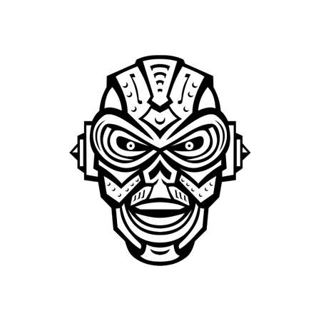 Mascot illustration of head of an angry iron skull robot or android viewed from front on isolated background in retro black and white style.