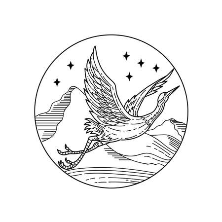 Black and white mono line style illustration of a great blue heron flying viewed from the side set inside circle with stars and mountains on isolated white background.