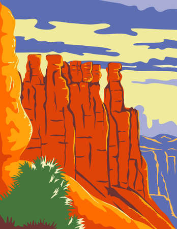 WPA poster art of the Bryce Canyon National Park, a natural amphitheater carved into edge of high plateau in Utah United States done in works project administration or federal art project style.