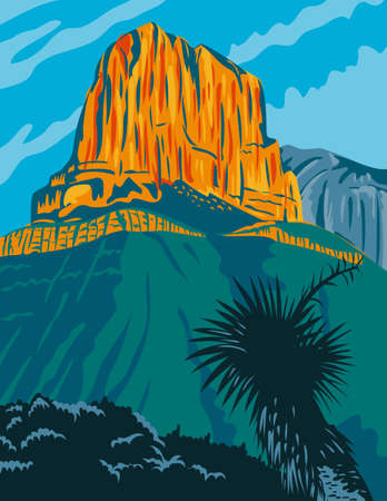WPA poster art of Guadalupe Mountains National Park with El Capitan peak, an American national park east of El Paso, Texas United States done in works project administration federal art project style.