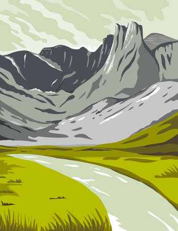 WPA poster art of Gates of the Arctic National Park, an American national park that protects Brooks Range in Alaska, United States done in works project administration or federal art project style.