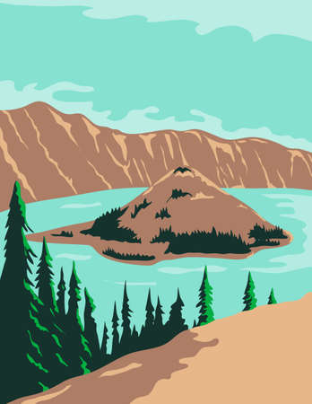 WPA poster art of Crater Lake National Park, a crater lake with Wizard Island and Phantom Ship in Klamath County, Oregon United States in works project administration or federal art project style.