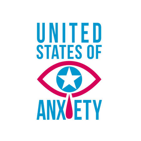 Retro style illustration of a blue crying eye with star and red teardrop or tears falling with words United States of Anxiety on isolated background done in red and blue color.