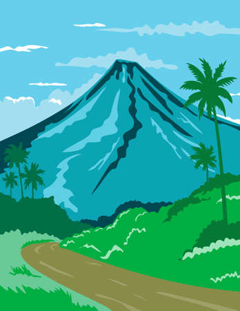 WPA poster art of Mayon Volcano or Mount Mayon, a sacred and active stratovolcano in the province of Albay in Bicol, Philippines done in works project administration or federal art project style.