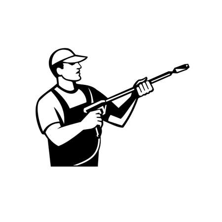 Illustration of a worker with water blaster pressure power washing sprayer spraying viewed from side done in retro black and white style.