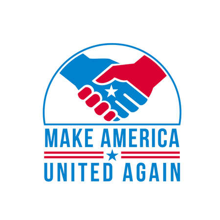 Retro style illustration of two American hands in a firm friendship handshake with USA star in the center and words Make America United Again on isolated background done in United States red and blue. 向量圖像