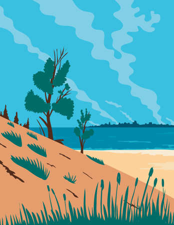 WPA poster art of Indiana Dunes National Park, a United States National Park located in Northwestern Indiana, United States done in works project administration federal art project style.
