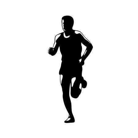 Illustration of marathon triathlete runner running facing front view on isolated done in retro black and white style. 向量圖像
