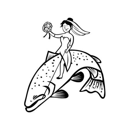 Cartoon style illustration of a female bride fisherman with flower bouquet riding a steelhead trout or rainbow trout bucking and jumping on isolated background done in black and white.