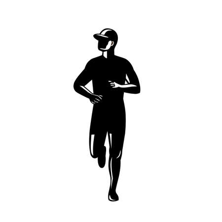 Retro style black and white illustration of a silhouette of a country marathon runner running viewed from front on isolated white background.