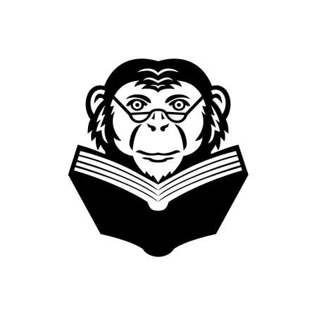 Mascot illustration of head of a noble chimpanzee, chimp, monkey, primate or ape wearing glasses reading a book viewed from front on isolated background in retro style.
