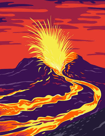 WPA poster art of Hawaii Volcanoes National Park with the active KIlauea volcano spewing lava in Hawaii County, Hawaii United States done in works project administration federal art project style. 向量圖像