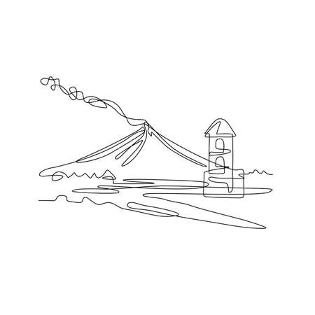 Continuous line drawing illustration of Mayon Volcano or Mount Mayon with Cagsawa church bell tower ruins, a sacred and active stratovolcano in Albay, Bicol, Philippines in sketch or doodle style. 向量圖像