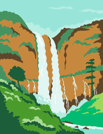 WPA poster art of the Maria Cristina Falls or twin falls, a waterfall of Agus River in Northern Mindanao region of the Philippines done in works project administration or federal art project style.