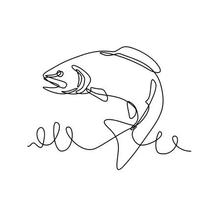 Continuous line drawing illustration of a rainbow trout or Oncorhynchus mykiss, a trout and species of salmonid native to cold-water tributaries of the Pacific Ocean done in sketch or doodle style.