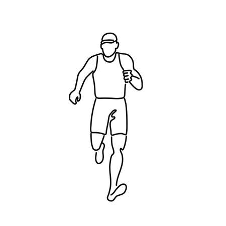 Black and white line drawing illustration of a male marathon runner running viewed from front on isolated background.
