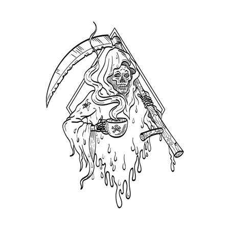 Tattoo style illustration of the grim reaper, personification of death, holding smoking hot cup of coffee and scythe front view set in diamond on isolated background in line drawing black and white.
