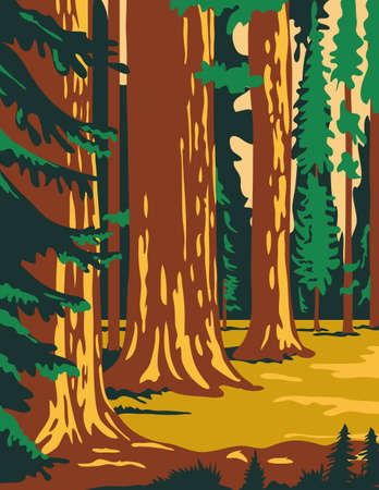 WPA poster art of the Sequoia National Park, an American national park in southern Sierra Nevada east of Visalia, California, United States in works project administration federal art project style.