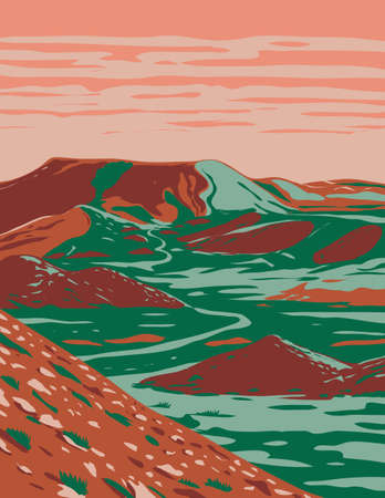 WPA poster art of the Alibates Flint Quarries National Monument showing red bluffs, canyon rims and mesas near Amarillo and Fritch, Texas in works project administration or federal art project style.