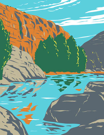 WPA poster art of Agua Fria National Monument, centered around a deep Agua Fria River canyon on the border of Sonoran Desert in Arizona in works project administration or federal art project style. Vector Illustration