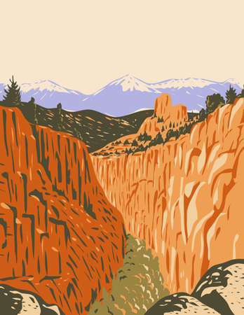 WPA poster art of the Browns Canyon National Monument encompassing canyons and forests in Arkansas River Valley and the Sawatch Range in Chaffee County Colorado in works project administration style.