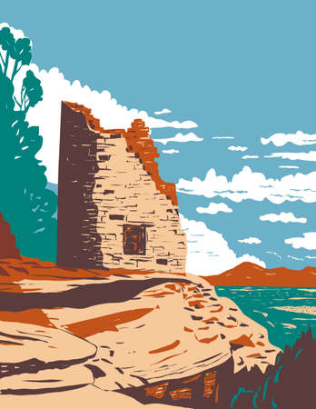 WPA poster art of the Painted Hand Pueblo in Canyon of the Ancients National Monument in southwest Colorado, United States in works project administration or Federal Art Project style.
