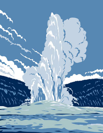 WPA poster art of the Old Faithful, a cone geyser in Yellowstone National Park in Wyoming, United States of America done in works project administration or federal art project style.