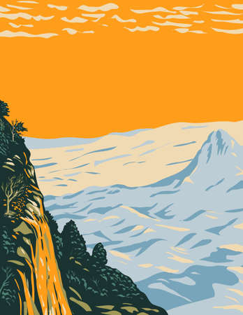 WPA Poster Art of the Chihuahuan desert landscape in Big Bend National Park covering West Texas bordering Mexico done in works project administration style or federal art project style.