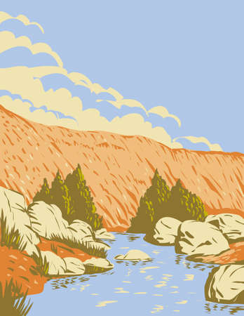 WPA poster art of Badger Springs Canyon and the Agua Fria River located in Agua Fria National Monument in Arizona United States done in works project administration style or federal art project style.