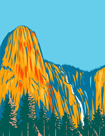 WPA poster art of Sentinel Falls and the giant monolith Sentinel Rock residing within Yosemite National Park, California USA done in works project administration style or federal art project style. Vetores