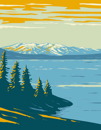 WPA poster art of Yellowstone Lake, the largest body of water located within Yellowstone National Park, Wyoming USA done in works project administration style or federal art project style.