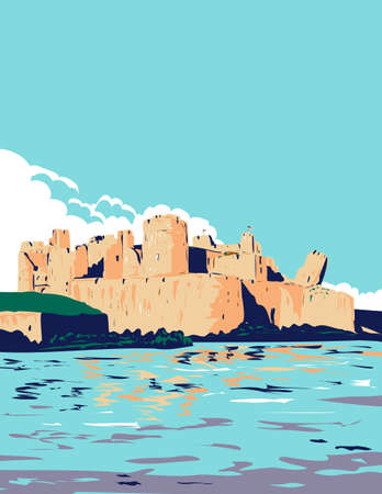 Art Deco or WPA poster of Caerphilly Castle and moat within Brecon Beacons National Park, Caerphilly, South Wales United Kingdom done in works project administration style. Vecteurs