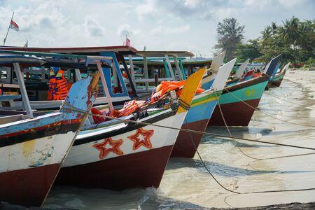 Anchored boats on a beach Reklamní fotografie
