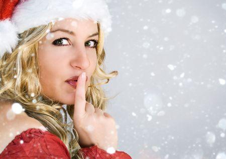 beautiful Santa-woman with snowflakes Stock Photo - 5214991