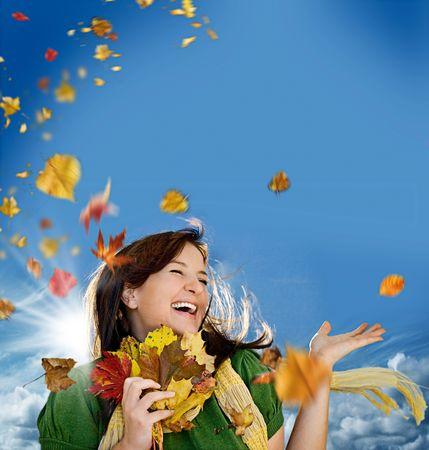 joyful autumn Stock Photo - 5305053
